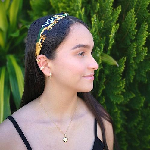 Banda cabello estampado verde con dorado