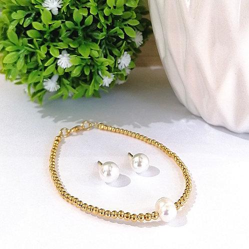 Coordinado Pulsera y aretes perla
