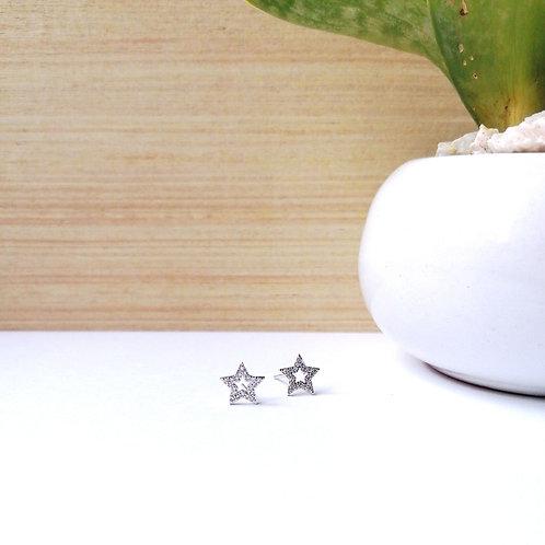 Aretes contorno Estrella con Zirconia