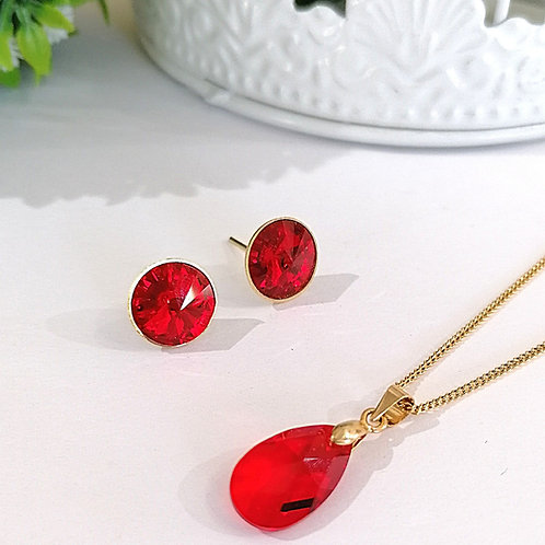 Cadena Gota y Aretes poste de Swarovski Rojo