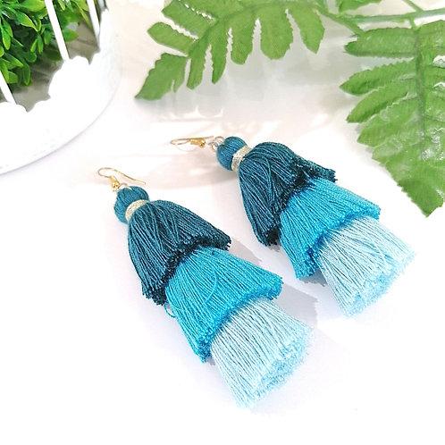 Aretes Tassel Azul