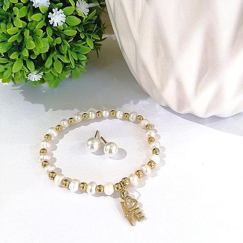 Coordinado Love de perlas