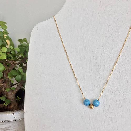 Gargantilla de acero inoxidable con cristal azul