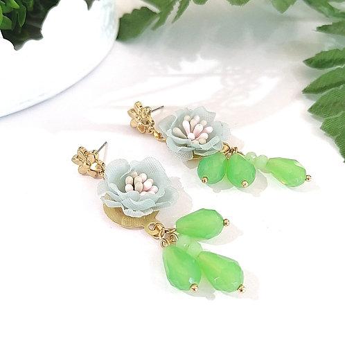 Aretes Flor Verde