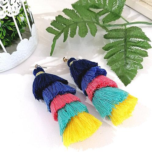 Aretes Tassel Multicolor