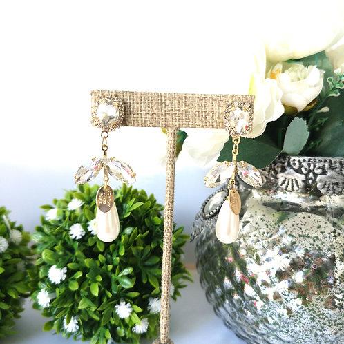 Aretes Gota con perla y cristal