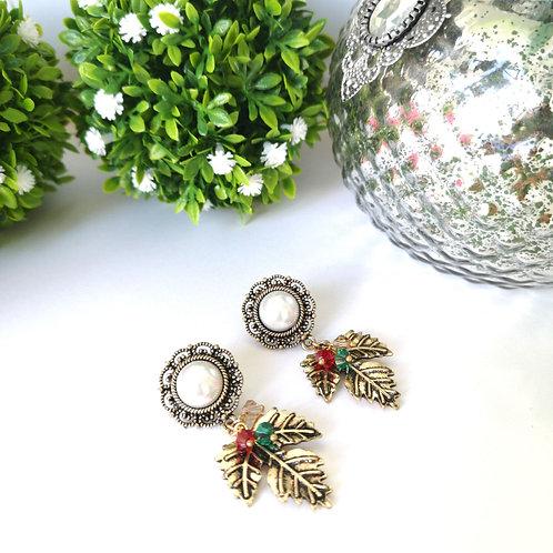 Aretes Flor con perla