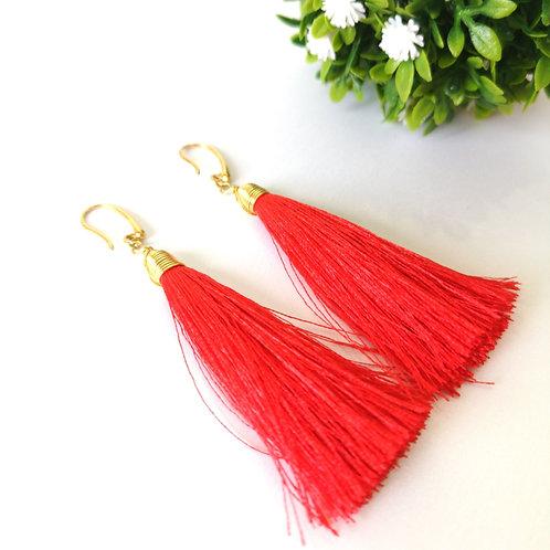 Aretes Tassel grande color rojo