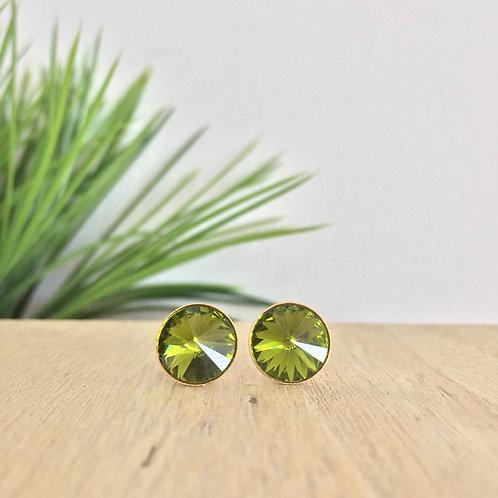 Arete Verde oliva de swarovski