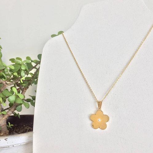 Gargantilla Flor de acero inoxidable dorada