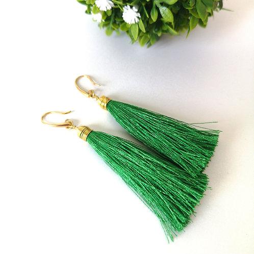 Aretes Tassel grande verde