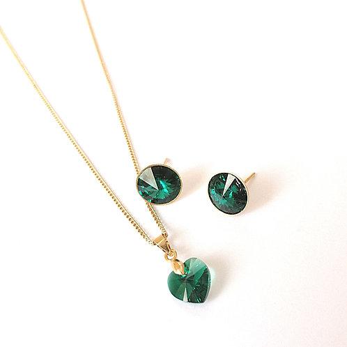 Coordinado Corazón pequeño Verde Esmeralda