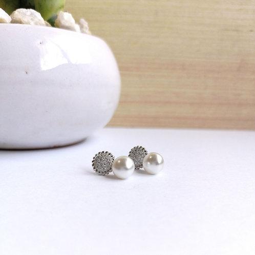 Aretes Circulo zirconia con perla