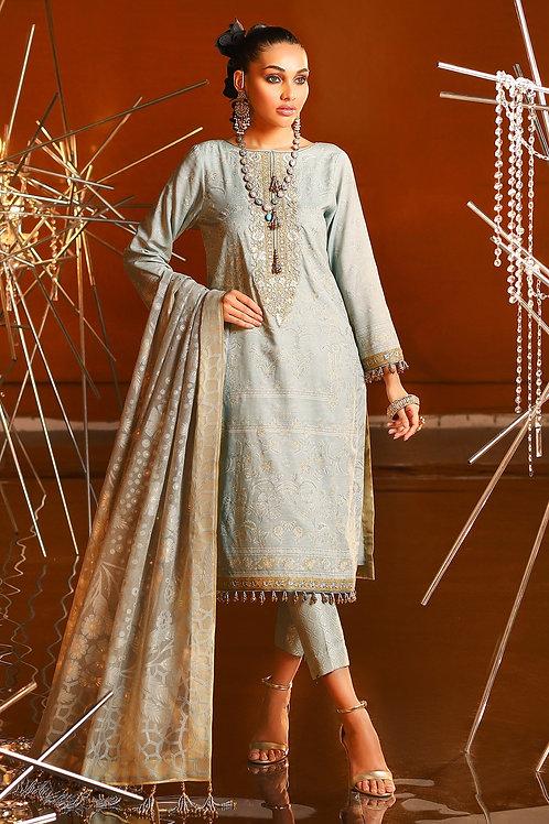 BLight Grey 2 Piece Embroidered Suit