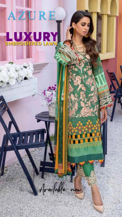 Azure Luxury Emb pakistani brand at hoor