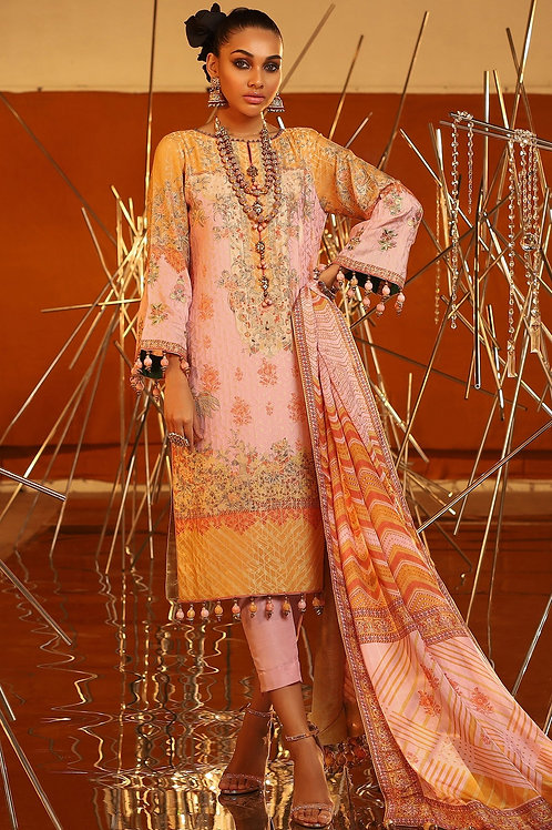 Pink 3 Piece Embroidered Suit
