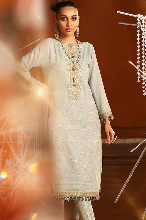 Light Grey 2 Piece Embroidered Suit