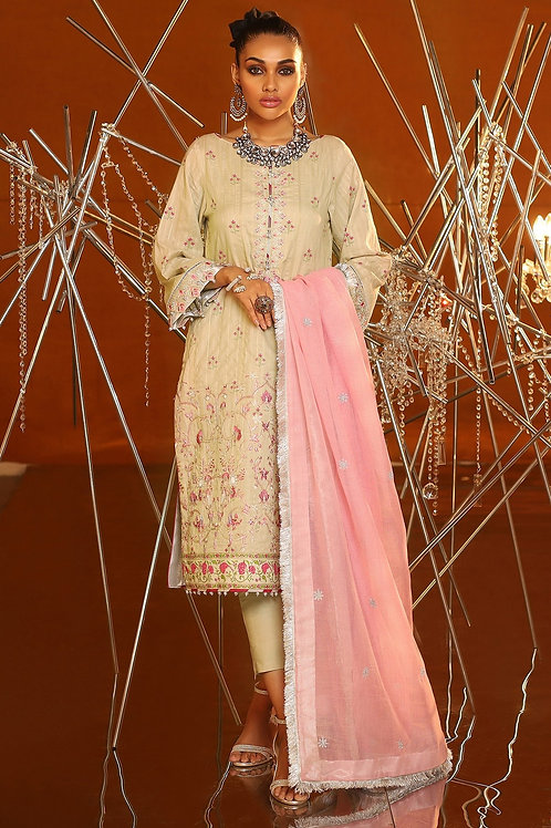 Beige 3 Piece Embroidered Suit