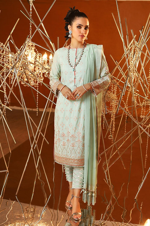 Blue 3 Piece Embroidered Suit