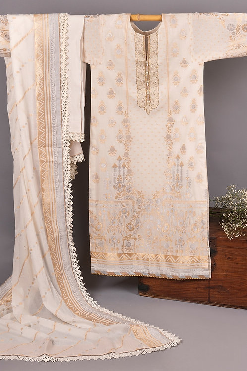 LBeige Three Piece Jacquard Embroidered Suit