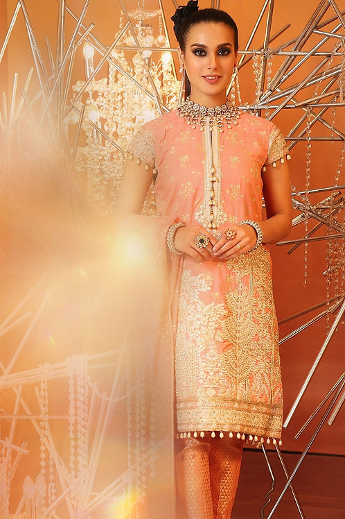 Peach 2 Piece Embroidered Suit