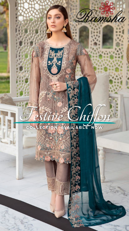Ramsha uk Chiffon collection at hoorain