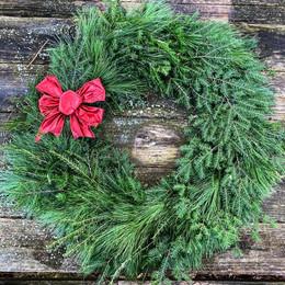 Natural front door wreath + handmade bow add-on