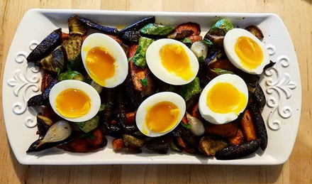 soft-boiled with roasted June vegetables