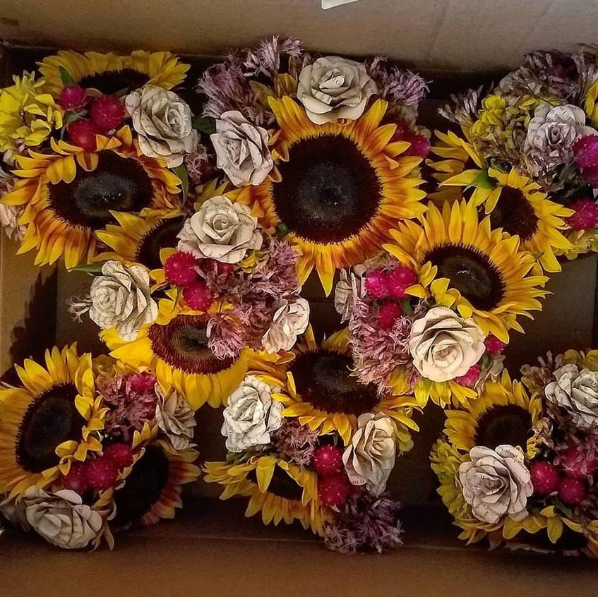 sunflower gomphrena zinnia centerpieces.