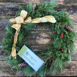 Deluxe front door wreath + handmade bow add-on