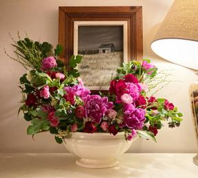 Antique soup tureen with premium peonies, roses, & ranunculus  - mid June