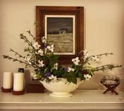 May custom arrangement in antique soup terrine