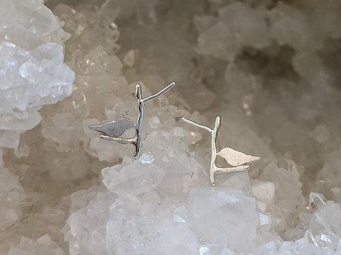BIRDS ON A BRANCH EARRINGS IN STERLING SILVER