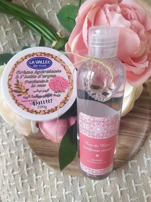 Eau de Rose visage et creme nourrissante hydratante argan / rose