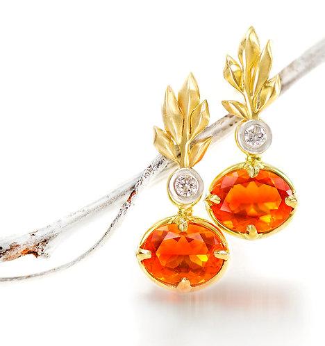 fire opal drops on leaf branch diamond tops