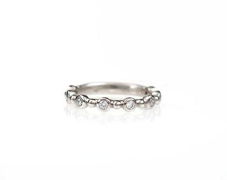 bezel diamond band with bead in between in palladium
