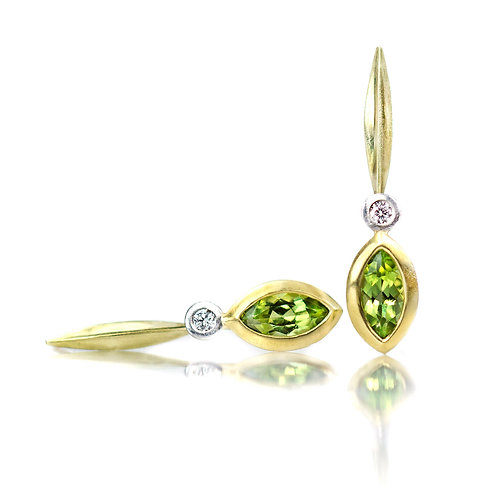 peridot and diamond single blade earrings