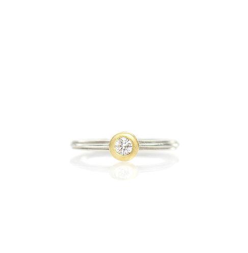 solitaire diamond straight ripple ring