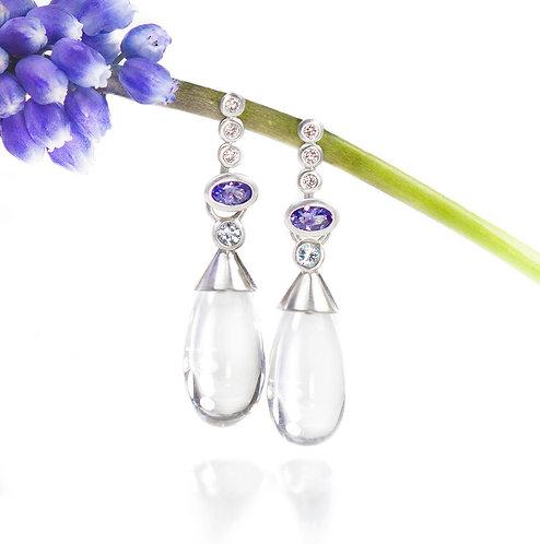 crystal quartz and aquamarine earring drops on triple diamond tanzanite tops