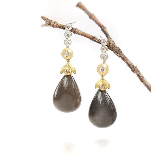 chocolate moonstone cognac diamond drops on triple diamond pebble studs