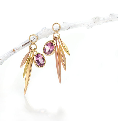 pink spinel tri color gold beach grass drops