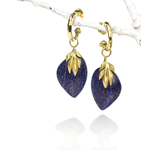 lapis leaf earrings on moving water hoops