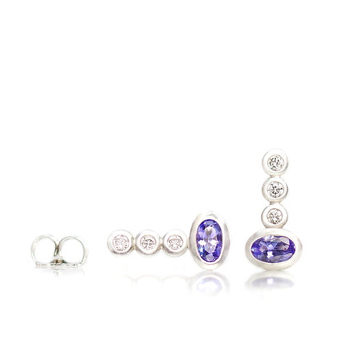 platinum triple diamond tanzanite studs in platinum