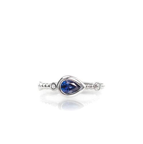 blue sapphire and diamond beaded ring