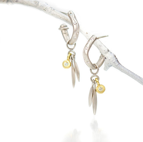 soft square hoops with beach grass diamond drops