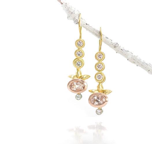 triple diamond earrings with morganite and diamond drops