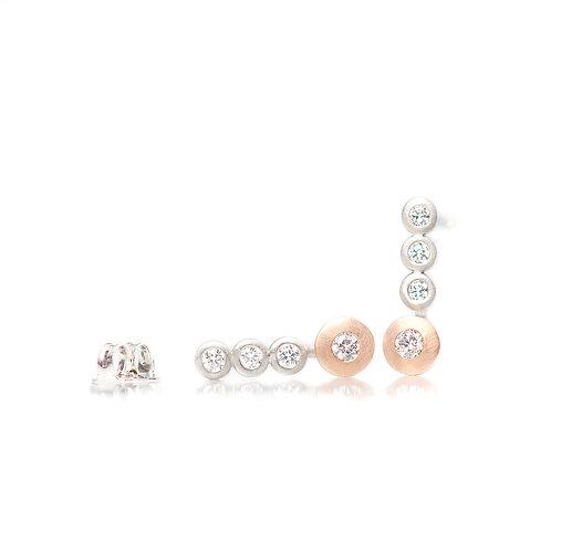 platinum and rose gold triple diamond earrings