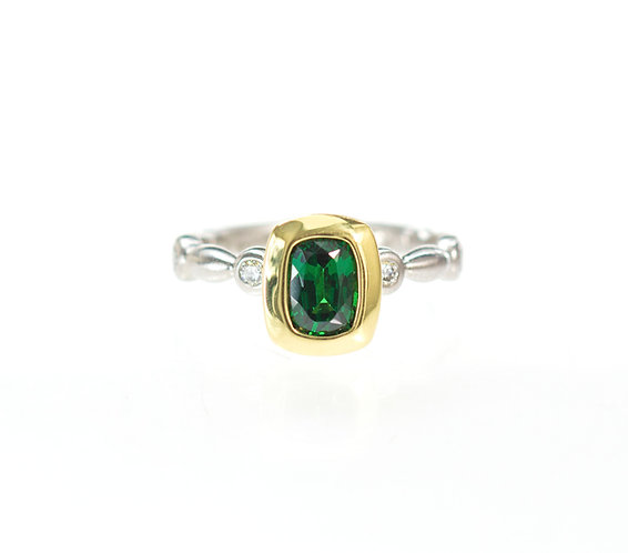 tsavorite and diamond in 18kt and platinum inspiration ring