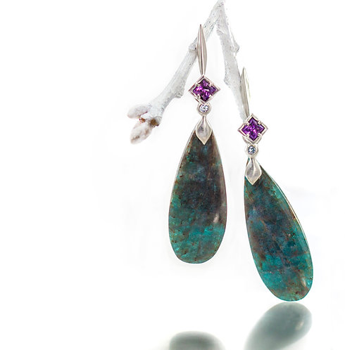 apatite earring drops with topaz on platinum single blade amethyst tops