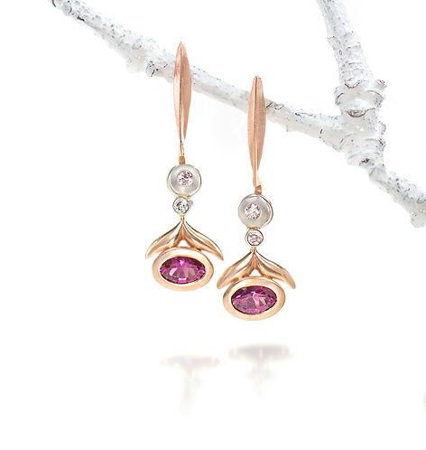 pink spinel and diamond winged leaf drops on single blade diamond tops